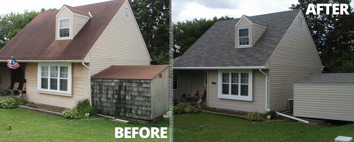 A before and after of Sideing Restoration