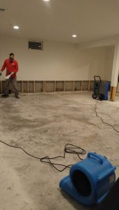 Water mitigation in flooded basement