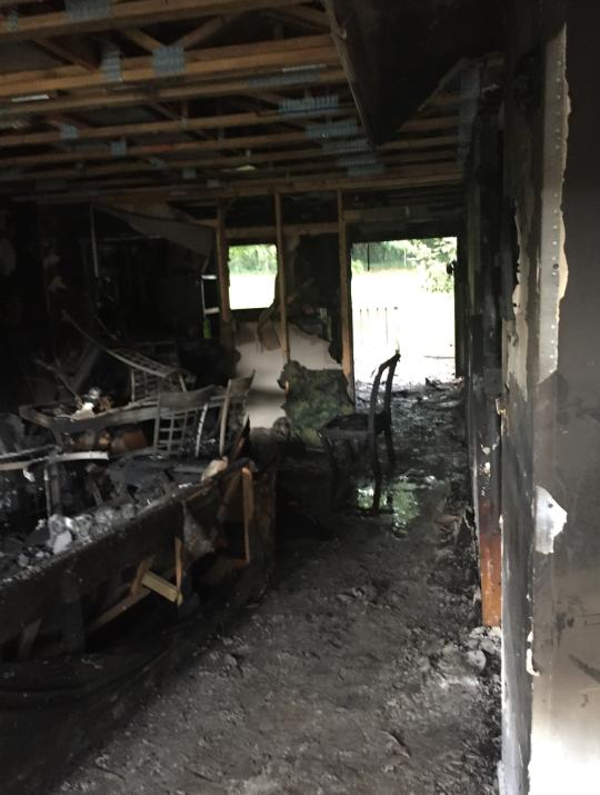 Burned living room after house fire